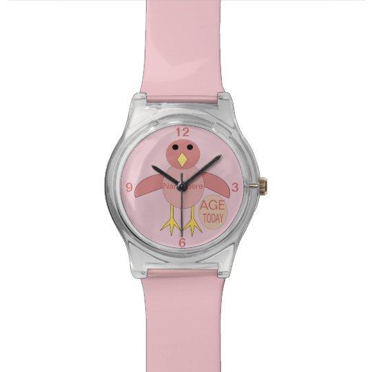 Custom Pink Birthday Girl Chick Watch