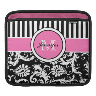 Custom Pink, Black, White Striped Floral Damask iPad Sleeves