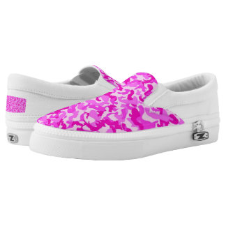Custom Pink camo Zipz Slip On Shoes, Women