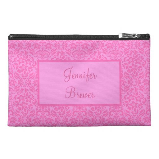 Custom Pink Damask Accessory, Coin or Makeup Bag Travel Accessories Bags