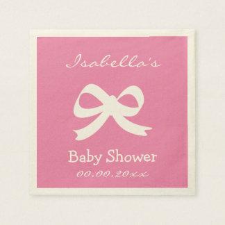 Custom pink ecru baby shower napkins for girl