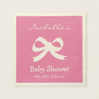 Custom pink ecru baby shower napkins for girl disposable napkin