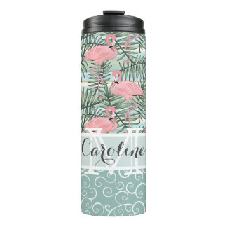Custom Pink Flamingoes Palm Leafs Pattern Thermal Tumbler