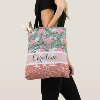 Custom Pink Flamingoes Palm Leafs Pattern Tote Bag
