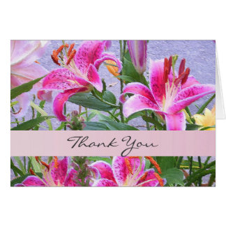 Custom Pink Floral Thank You Card