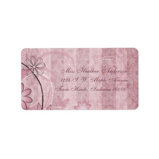 Custom Pink Floral Wedding Address Labels