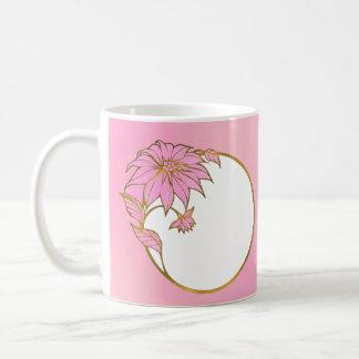 CUSTOM PINK FLOWER FRAME - LOVELY PINK CLASSIC WHITE COFFEE MUG