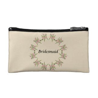 Custom Pink Flowers Bridesmaid Cosmetics Bag