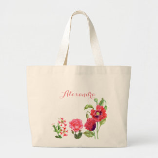Custom Pink Flowers Floral Art Large Tote Bag
