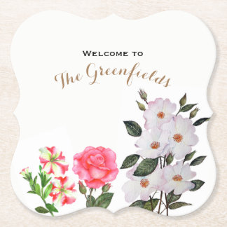 Custom Pink Flowers Floral Art Paper Coaster