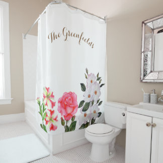 Custom Pink Flowers Shower Curtain
