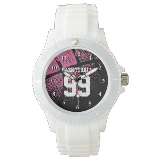Custom pink girls basketball jersey number watch