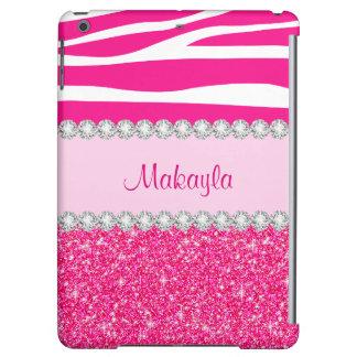 Custom Pink Glitter Case Savvy Zebra iPad Air Case