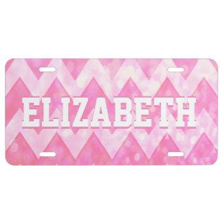 Custom Pink Glitter Chevron Pattern License Plate
