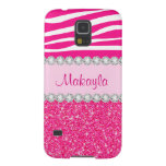 Custom Pink Glitter Sparkles Zebra Galaxy 5 Case Case For Galaxy S5