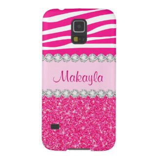 Custom Pink Glitter Sparkles Zebra Galaxy 5 Case