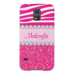 Custom Pink Glitter Sparkles Zebra Galaxy 5 Case Case For Galaxy S5