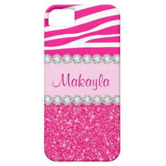 Custom Pink Glitter Sparkles Zebra iPhone 5 Case