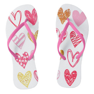 Custom Pink Gold Watercolor Doodle Hearts Flip Flops