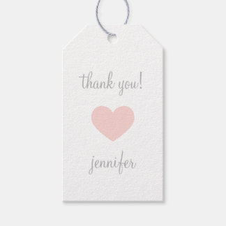 Custom Pink & Grey Heart Thank You Pack Of Gift Tags