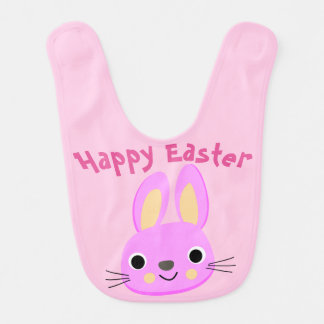 Custom Pink Happy Easter Baby Bib