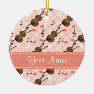Custom Pink Heart Music Note Violin Ornament