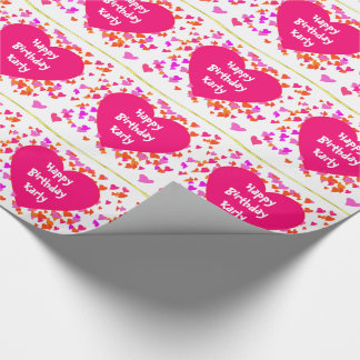 CUSTOM PINK HEART PATTERN GIFT WRAPPING PAPER