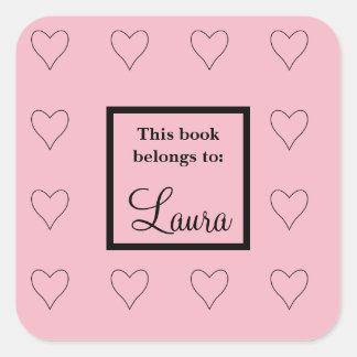 Custom Pink Hearts Bookplate Label Sticker