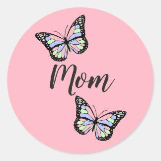 Custom Pink Mom Classic Round Sticker