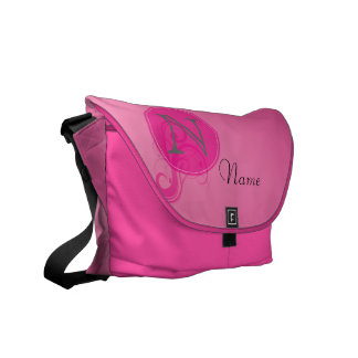 Custom Pink Monogram Messenger Bag