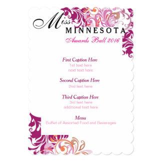 """Custom Pink Multicolor Vines Awards Ball Program 5"""" X 7"""" Invitation Card"""