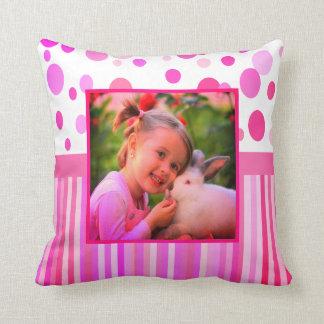 Custom pink photo frame throw pillow