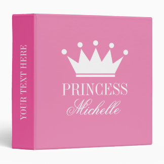 Custom pink princess crown baby photo album vinyl binders