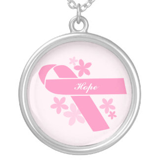 Custom Pink Ribbon Silver Plated Necklace