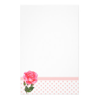 Custom Pink Rose Floral Art Stationery