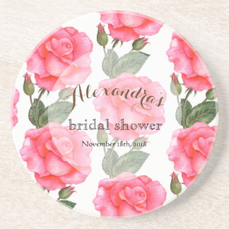 Custom Pink Roses Bridal Showers Coaster