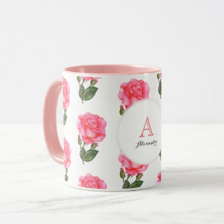 Custom Pink Roses Floral Art Monogram Circle Mug