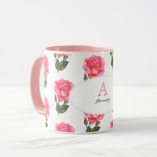 Custom Pink Roses Floral Art Monogram Oval White Mug