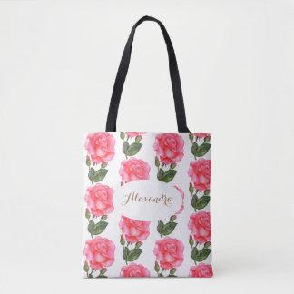Custom Pink Roses Floral Art Tote Bag