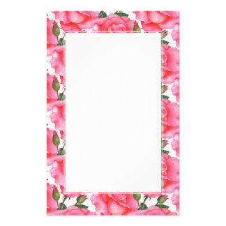 Custom Pink Roses Floral Art White Border Stationery