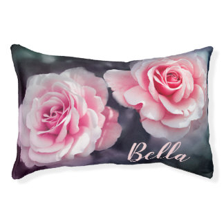 Custom Pink Roses Floral Photo Pet Bed