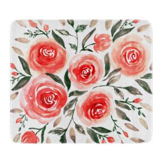 Custom Pink Roses Watercolor Floral Illustration Boards