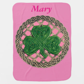 Custom Pink Shamrock On Celtic Knots Baby Blanket