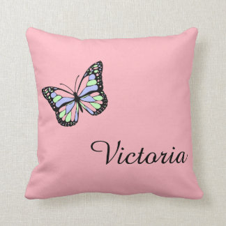 Custom Pink Throw Pillow with Butterfly