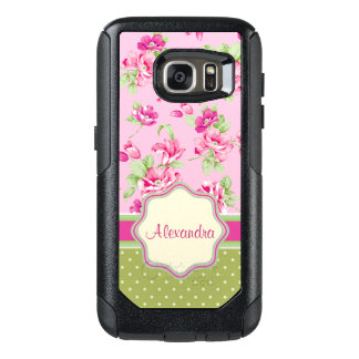 Custom Pink & Violet Red Roses & green polka dots OtterBox Samsung Galaxy S7 Case