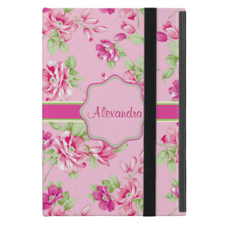 Custom Pink & Violet Red Roses on pink name iPad Mini Cover