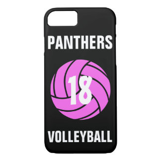 Custom Pink Volleyball Number & Team Phone Case