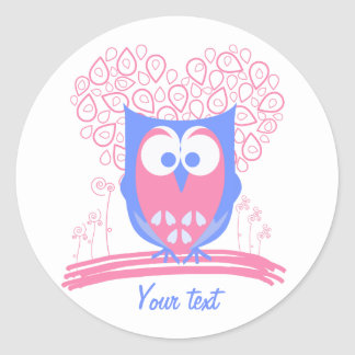 Custom Pink Whimsical Cute Owl round stickers