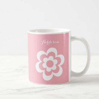 Custom Pink White Classic Mug With White Flower