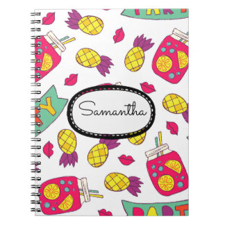 Custom Pink Yellow Purple Pineapples Lemonade Lips Notebook